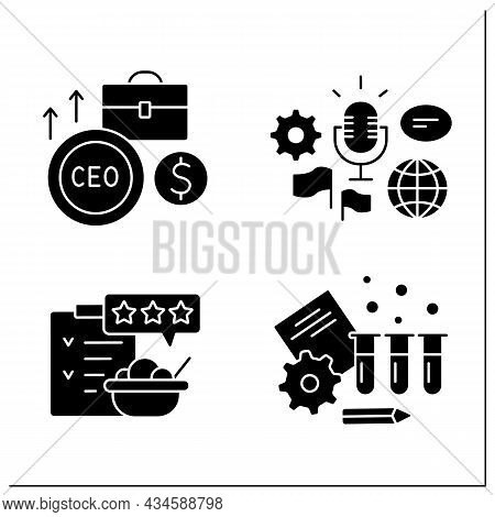 Business Glyph Icons Set. Global Forum, Rating And Testing. Chief Executive Officer. Business Idea C