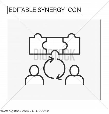 Cooperation Line Icon. Creative Collaborations Between Workers. Synergy Concept. Isolated Vector Ill