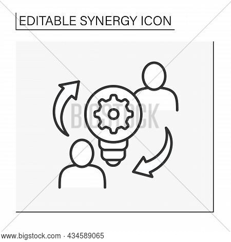 Creative Collaboration Line Icon. Integrate Modern Ideas And Strategies. Synergy Concept. Isolated V