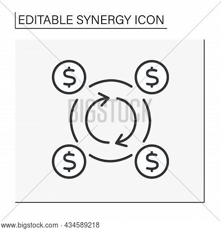Corporate Investment Line Icon. Circular Flow Surrounded By Dollar Signs. Investment Inside The Comp