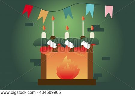 Cozy Home, Lit Fireplace. Christmas Socks For Gifts Are Hanging Over The Fireplace. Lighted Candles,