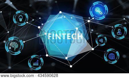Fintech -financial Technology Concept. 3d Illustration .business, Technology, Internet And Networkin