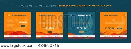 Set Of Social Media Post Template With Parabolic Antenna Background. World Development Information D