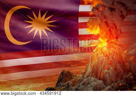 Big Volcano Blast Eruption At Night With Explosion On Malaysia Flag Background, Problems Of Eruption