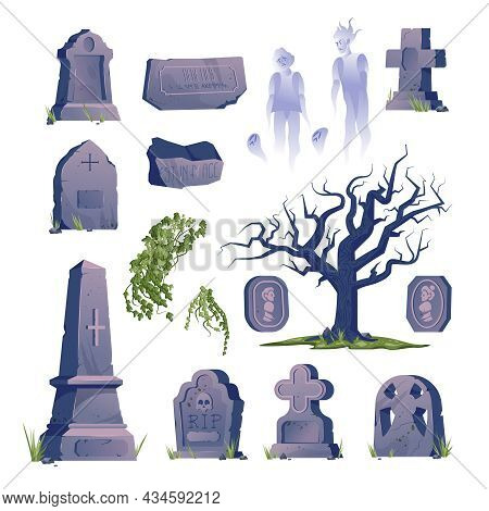 Cemetery Gravestone Old Icon Set Gravestones Of Various Shapes And Sizes Ghosts And Old Trees Vector