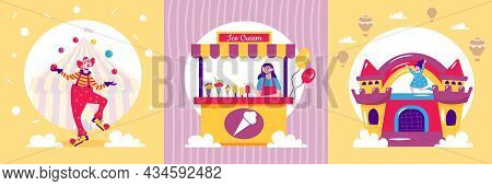 Amusement Park Design Concept With Three Square Compositions Of Dancing Clown Market Stall And Rubbe