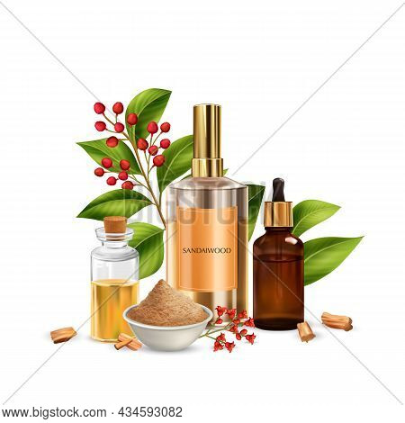 Realistic Sandalwood Composition With Images Of Ripe Leaves Berries And Cosmetic Products Packages W