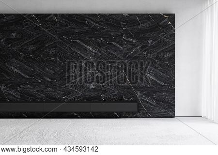 Contemporary Minimalist Interior With Marble Wall. 3d Render Illustration Mockup.