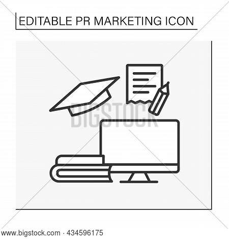 Education Line Icon. Brand Marketing Intern. Apprenticeship. Computer, Books And Notes. Pr Marketing
