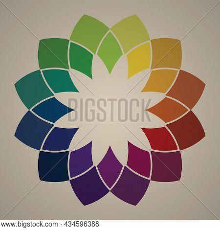Colorful Flower Petal Frame. Mandala Shape Pattern. Retro Style Color. Leave Blank Background For Te