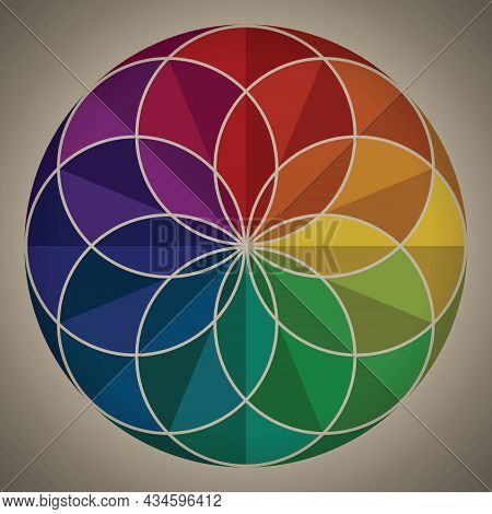 Colorful Flower Pattern Circle Shape. Retro Style Rainbow Color. Gradient Color Theory. Design Eleme