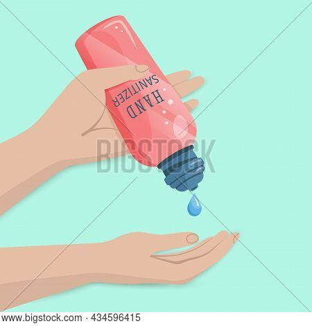Alcohol  Hygienic Gel,  Liquid Antiseptic Soap For Hands. Sanitizer To Protect Against Germs, Bacter