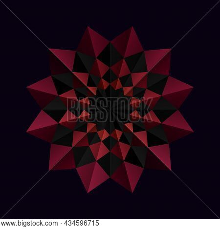 Red Flower Frame Pattern On A Black Background. 3d Geometric Shapes. Origami Mandala Style. Element