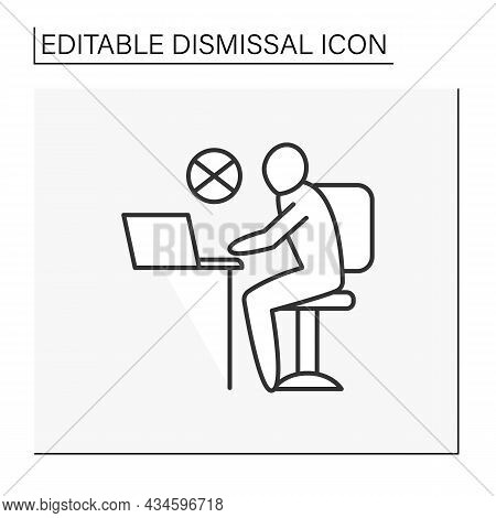 Job Line Icon. Failure To Work. Unready To Work.unemployment. Fired Person. Dismissal Concept. Isola