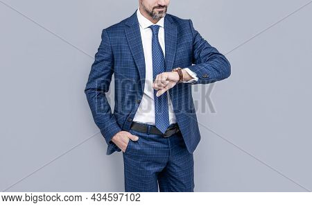 Confident Businessman Man In Businesslike Suit Checking Time, Time