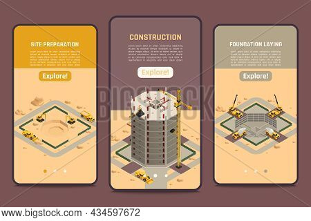 Skyscraper Construction Vertical Isometric Banners Set With Foundation Laying Symbols Isolated Vecto