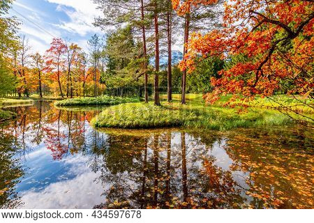 Autumn Foliage In Catherine Park, Pushkin, Saint Petersburg, Russia