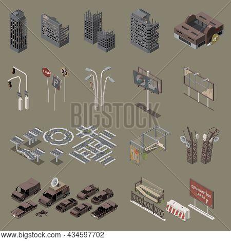 Post Apocalypse City Isometric Set Of Destroyed Buildings Empty Cars Broken Equipment Isolated Vecto