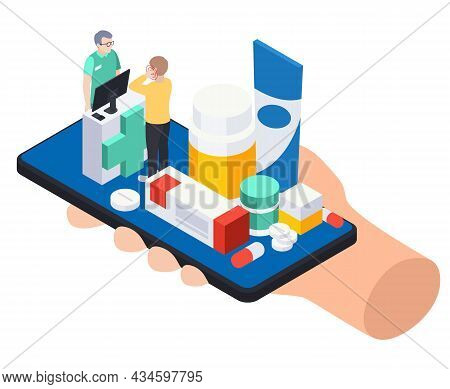 Modern Pharmacy Online Store Isometric Composition With Human Holding Smartphone With Medication Pha