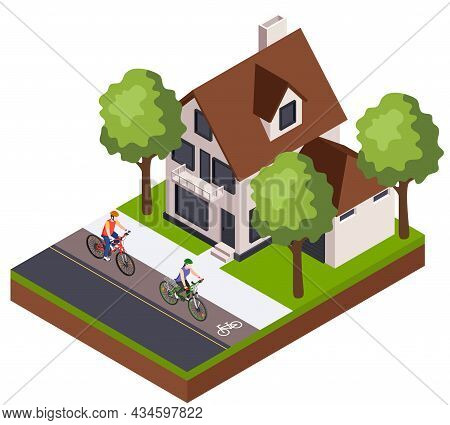 Isometric Composition With Man And Woman Cycling Along Bike Lane Past Private House Yard 3d Vector I