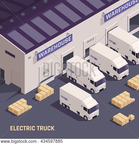Warehouse Loading Dock With Goods Vehicles Electric Trucks Delivery Vans Loaded And Unloaded Isometr