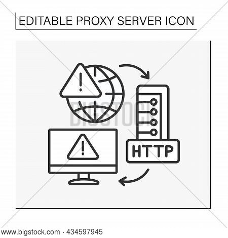 Http Protocol Line Icon. Unsafe Connections To Global Networks And Computers. Http Persistent Connec
