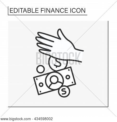 Spending Money Line Icon. Dollar And Euro Currency. Financial Markets And Money Exchange Rate. Budge