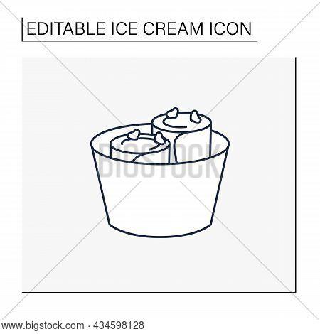 Fried Ice Cream Line Icon.thai Delicious Dessert. Tasty Frozen Ice Cream Rolled Into Rolls.summer Sw