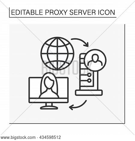Modern Technology Line Icon. Digital Application Intermediary Between Known Client And Server. Proxy
