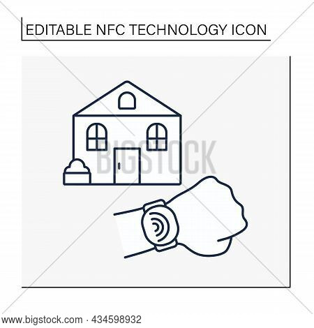 Nfc Technology Line Icon. Bills, Utilities, Home Maintenance Payments. Security. Banking On Smart Wa