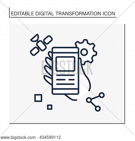 Modern Technology Line Icon. Information On Smartphones. Sharing Information To People. Digital Tran