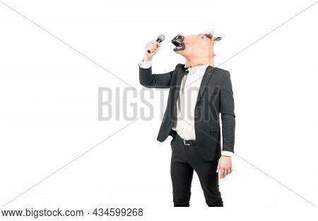 Professional Man Wear Horse Head Mask In Formalwear Singing Karaoke Song, Costume Party