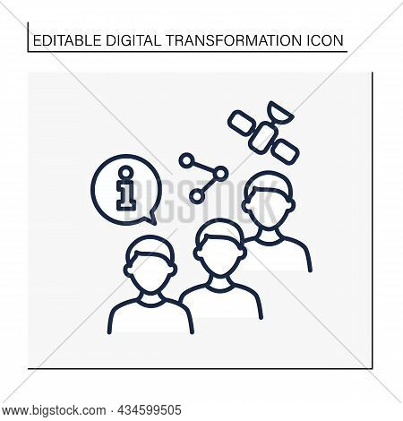 Sharing Information Line Icon. Exchange Info With People. Satellite Control. Digital Transformation