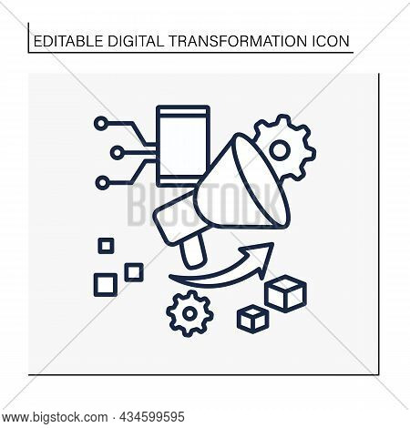 Promoting Line Icon. Share Information By Smartphone. Megaphone. Modern Technologies. Digital Transf