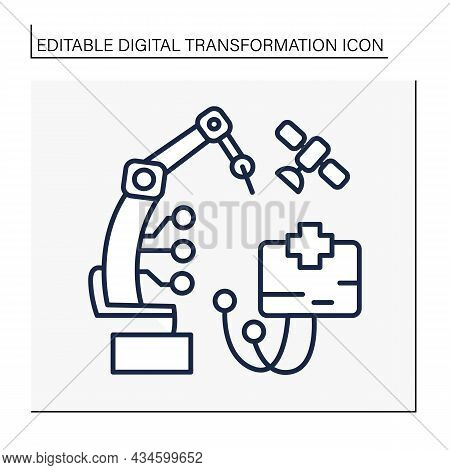 Manufacturing Line Icon. Industry 4.0. Mechanization Manufacture In The Medical Sphere. Smart Techno