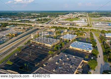 20 September 2021 Houston, Tx Usa: Panorama Aerial View Interstate 45, Highway Road Junction At Sout
