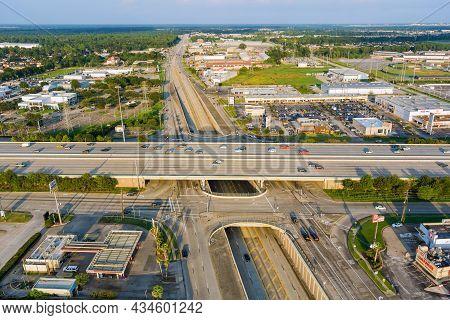 20 September 2021 Houston, Tx Usa: Panorama Aerial View Traffic Line 45 Interstate Expressway Around