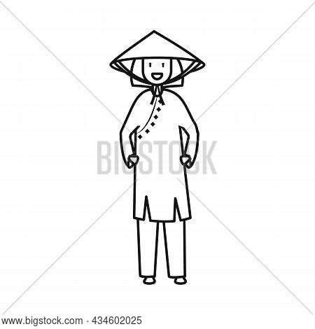 Vector Design Of Vietnamese And Woman Symbol. Collection Of Vietnamese And Girl Stock Vector Illustr