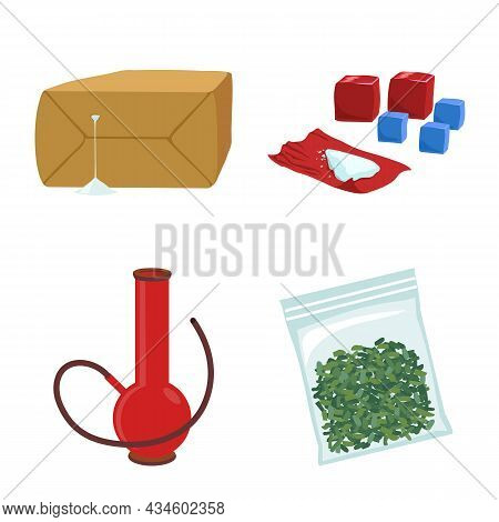 Isolated Object Of Narcotic And Medical Sign. Set Of Narcotic And Crime Stock Vector Illustration.