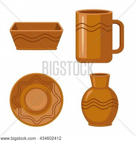 Vector Illustration Of Kitchen And Tableware Icon. Collection Of Kitchen And Pottery Stock Symbol Fo