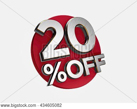 20 Percent Off 3d Sign On White Special Offer 20% Discount Tag Flash, Sale Up To 20 Percent Off, Big