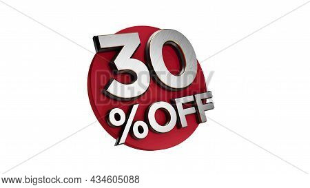 30 Percent Off 3d Sign On White Special Offer 30% Discount Tag Flash, Sale Up To Thirty Percent Off,