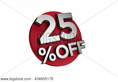 25 Percent Off 3d Sign On White Special Offer 25% Discount Tag Flash, Sale Up To Twenty 25 Percent O