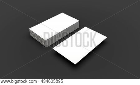 Stack Of Blank Name Cards Blank White Business Cards On Gray Paper Background. Mockup For Id 3d Illu