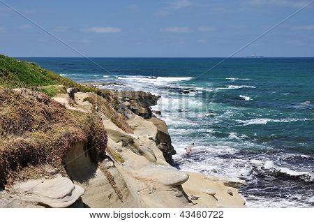 Rugged coastline bluff