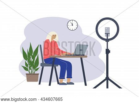 Vector Illustration Of A Female Blogger At The Table With A Laptop. Online Filming Of A Training Cou