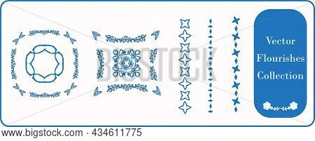 Scandia Style Small Star Motif Flourish Vector Collection. Minimal Hand Drawn Icon Set With Borders,