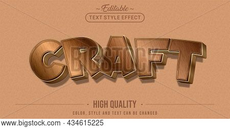 Editable Text Style Effect - Craft Text Style Theme. Graphic Design Element.