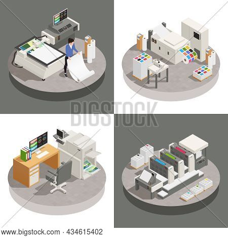Printing House Set Of Square Compositions With Isometric Images Of Working Places With Electronic Wo