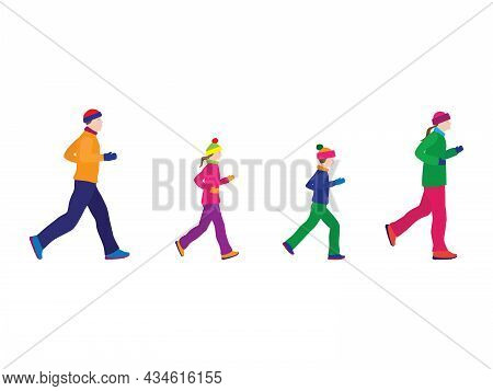 Running Family. In Winter Clothes. Active Family. Family Sports. Winter Sport.